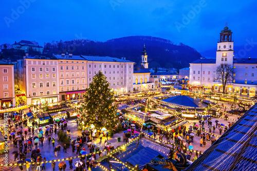 Canvas Print Salzburg, Austria. Christmas Market.
