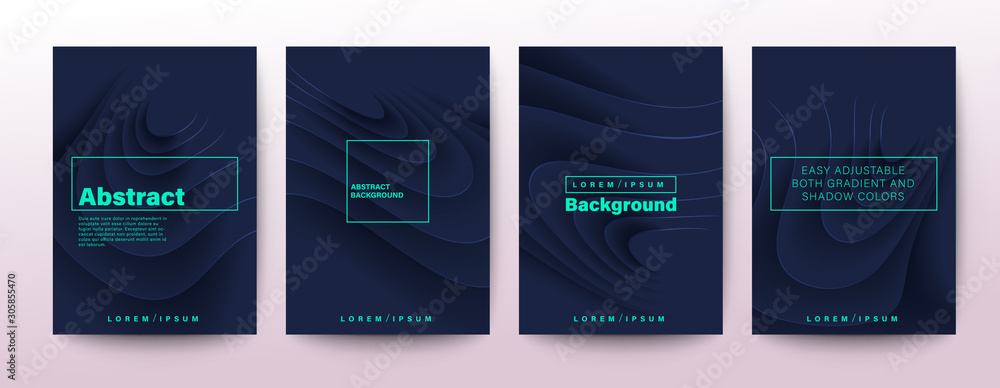 Set of abstract ripple curved shape on dark blue background for Brochure, Flyer, Poster, leaflet, Annual report, Book cover, Graphic Design Layout template. <span>plik: #305855470   autor: kraphix</span>