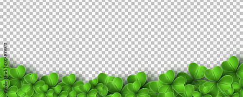 Fotografia Realistic green clovers isolated on transparent background