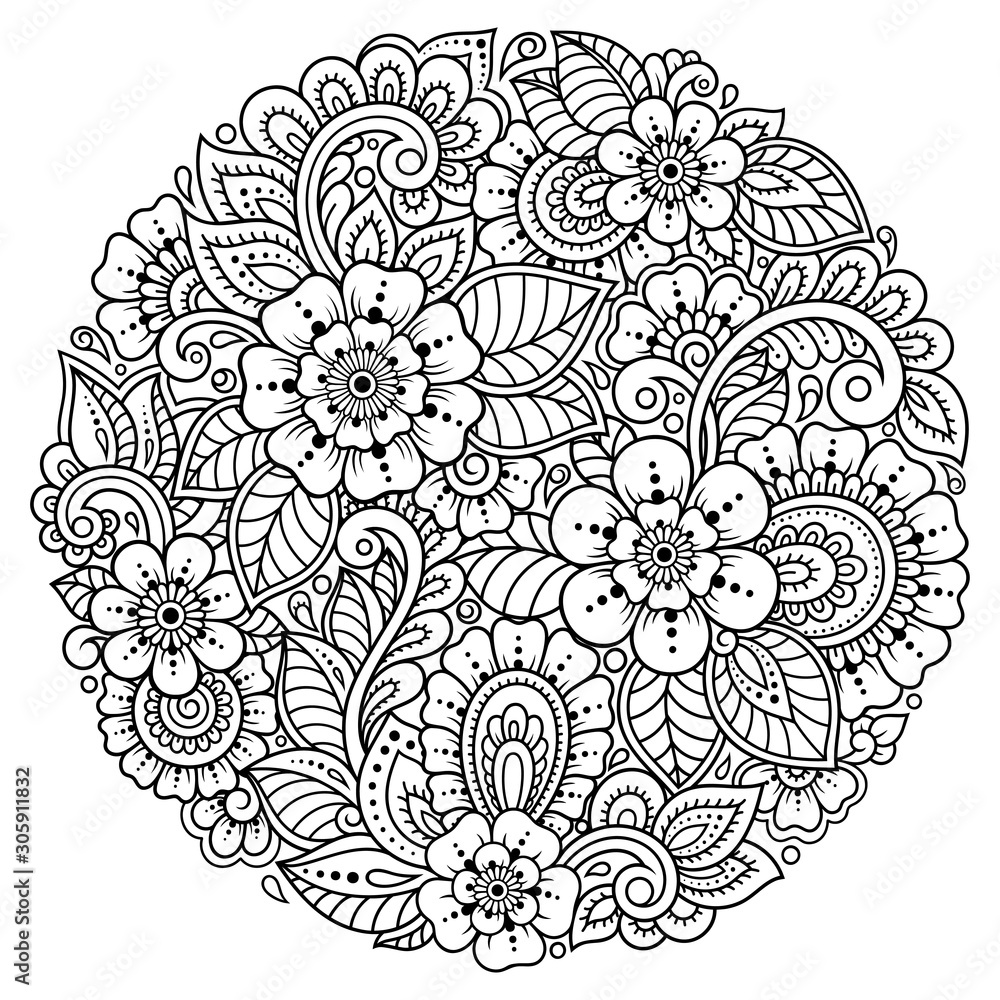 Outline round flower pattern in mehndi style for coloring book page. Antistress for adults and children. Doodle ornament in black and white. Hand draw vector illustration. <span>plik: #305911832 | autor: Katikam</span>