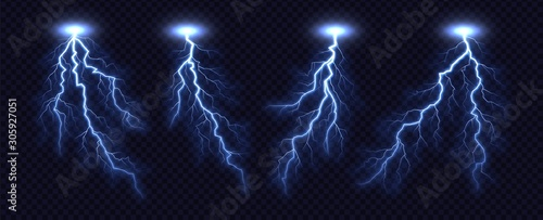 Photo Lightning bolt collection isolated on transparent background