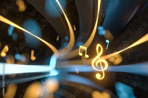 Music notes with dark background, floating notes, 3d rendering. Poster Mural XXL