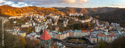 Fotografia View to Karlovy Vary city from above at sunset