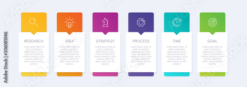 Foto Concept of arrow business model with 6 successive steps