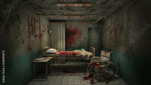Stampa su Tela horror and creepy ward room in the hospital with blood