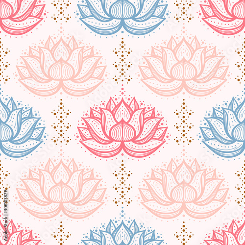 Fototapeta Ethnic Oriental Mehndi Lotus Flower Seamless Pattern