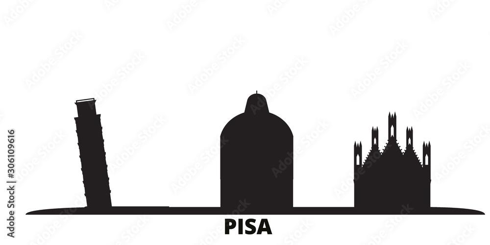 Włochy, Piza panoramę miasta na białym tle ilustracji wektorowych. Włochy, Piza podróż gród z zabytków <span>plik: #306109616   autor: iconsgraph</span>