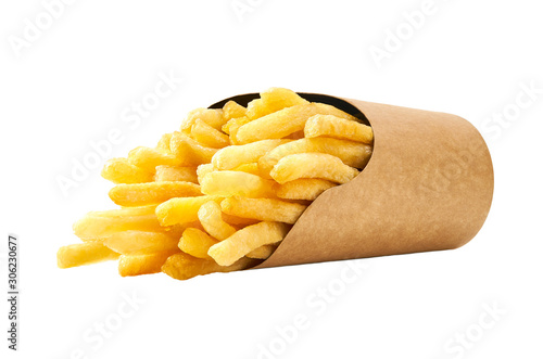 Canvas Print french fries in a paper cup isolated on white background.