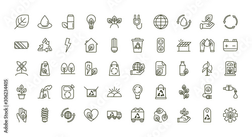 Photo environment ecology icons collection line