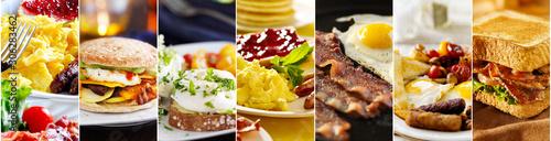 assortment of breakfast foods collage Fototapet