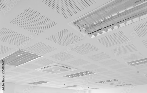 Canvas Print acoustic ceiling with lighting and air condition
