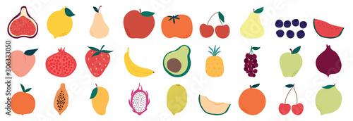 Set of colorful fruit icons ,banana, apple, pear, strawberry, orange, peach, plum, watermelon, pineapple, papaya, grapes, cherry, lemon, mango. Vector illustration, isolated on white.