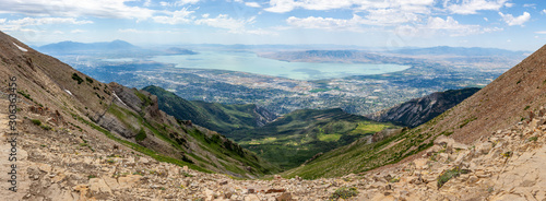 Fotografie, Obraz Utah county with Utah lake panorama from the summit of mountain Timpanogos