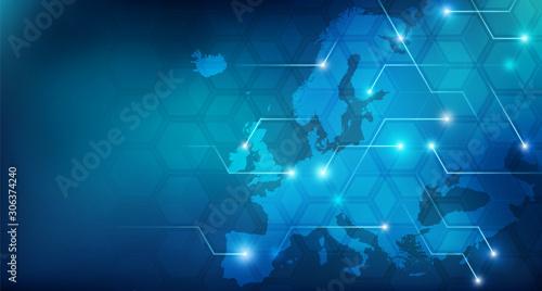 Connected European map concept – European Union, trade, digitalization, future