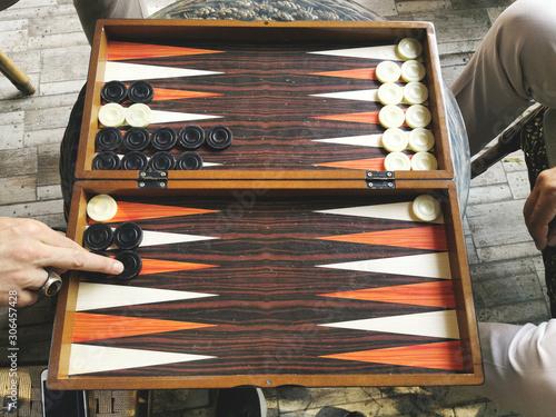 backgammon board game with dices Fototapeta
