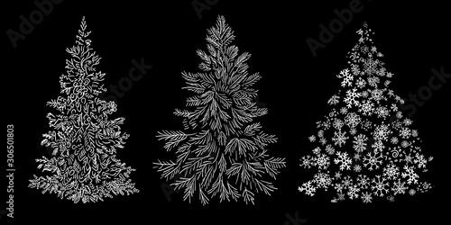 Obraz na płótnie set of christmas tree graphic art with line doodle hand drawn vector illustratio