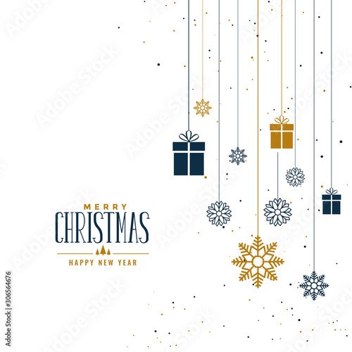 decorative christmas background with gifts and snowflakes Fototapet