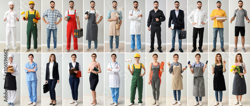 Photo Collage with people in uniforms of different professions