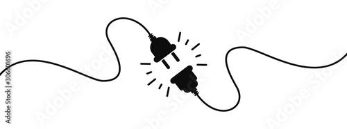 Fotografie, Tablou Electric socket with a plug
