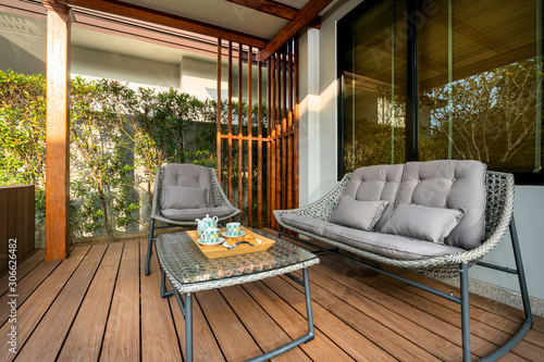 Canvas Print Outdoor seat by pool terrace