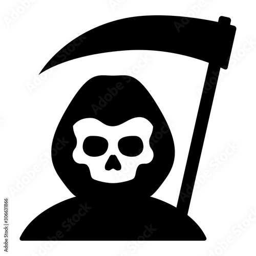 Canvas Print Grim reaper or death with hood and skull wielding a scythe flat simple vector ic