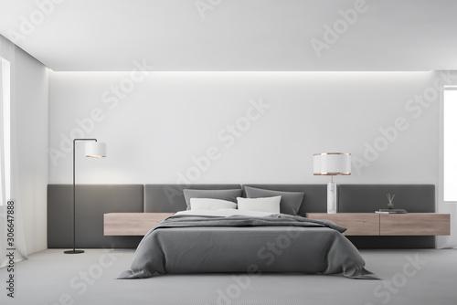 White master bedroom interior with lamp Fototapet