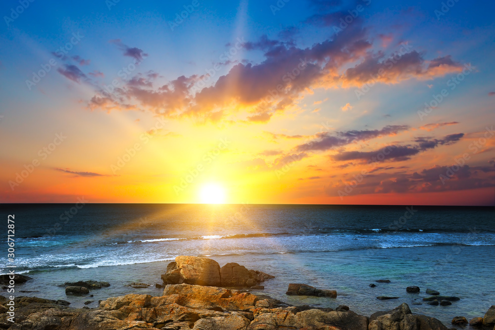 Sun rise over the sea. The concept is travel.