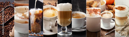 coffee collage of various types coffee drinks