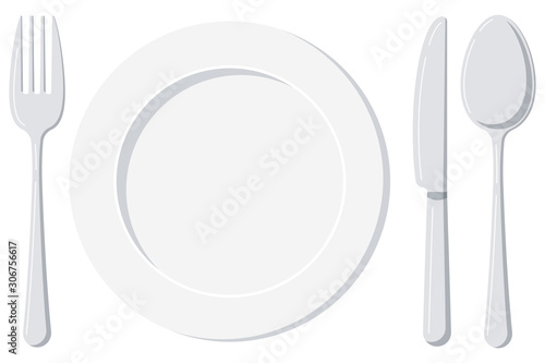 Obraz na plátně Empty white plate with spoon, knife and fork isolated on a white background