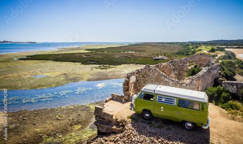 Tablou Canvas Portugal Algarve Road Trip in a retro campervan - Wild Camping - Europe