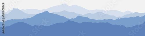 Vector illustration of mountains, ridge in the morning haze, panoramic view Fototapeta