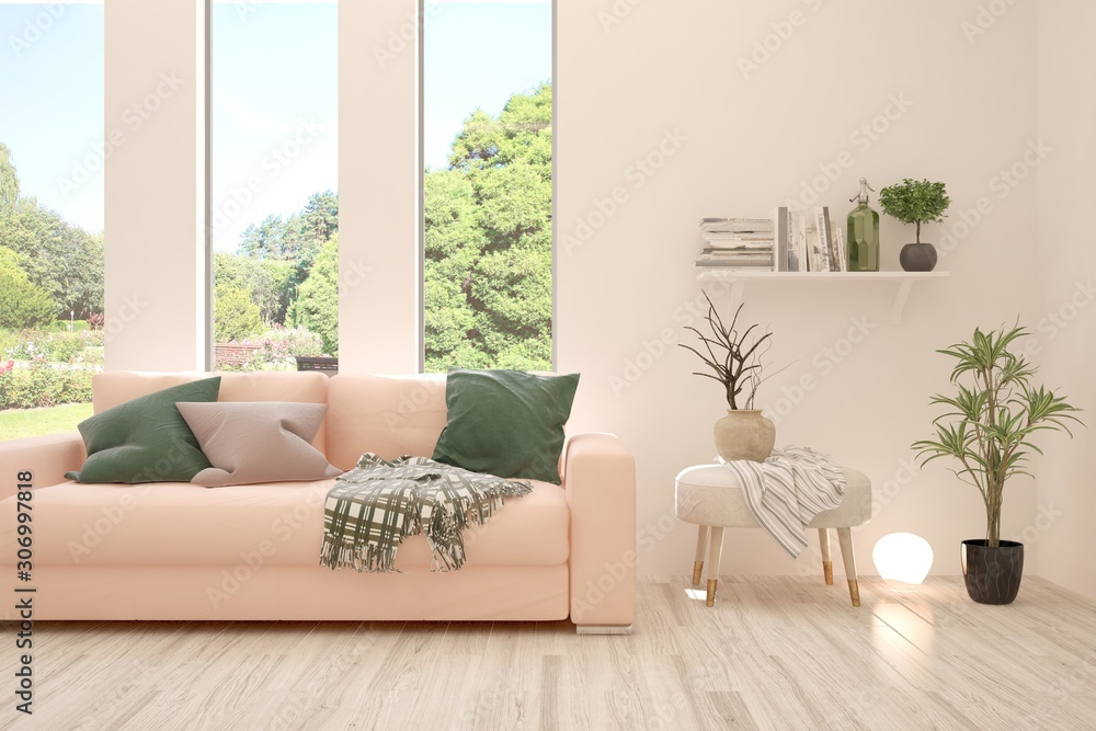 Stylowy pokój w białym kolorze z sofą i letnim krajobrazem w oknie. Skandynawski wystrój wnętrz. Ilustracja 3D <span>plik: #306997818 | autor: AntonSh</span>