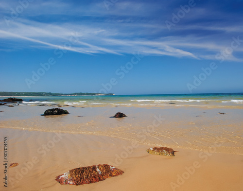Canvas Print Beach at low tide with rippling water, New England beach