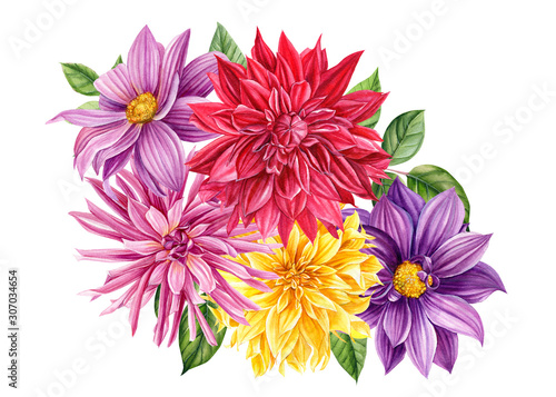 Valokuva bouquet of dahlia flowers on isolated white background, watercolor clipart, hand