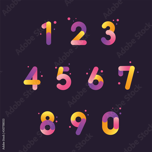 Carta da parati Vector numbers set with gradient color, From zero to nine