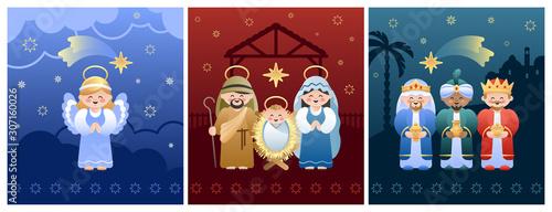 Obraz na płótnie Collection of three Christmas Nativity Scenes