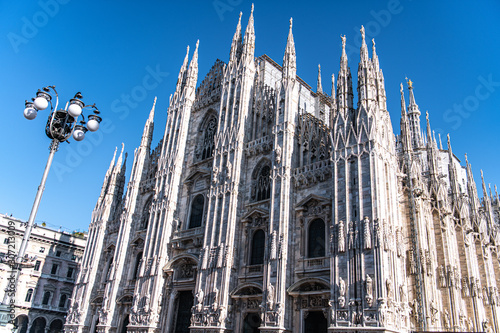 Fototapeta facade of cathedral in milan