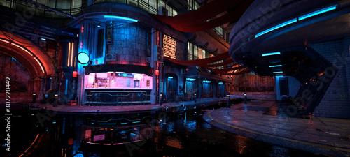 Fotografia Neon night in a futuristic city