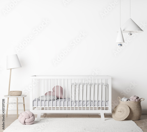 Mock Up empty Wall In farmhouse Interior Background in baby room with poster frame, nursery mockup, Scandinavian Style, 3D render, 3D illustration