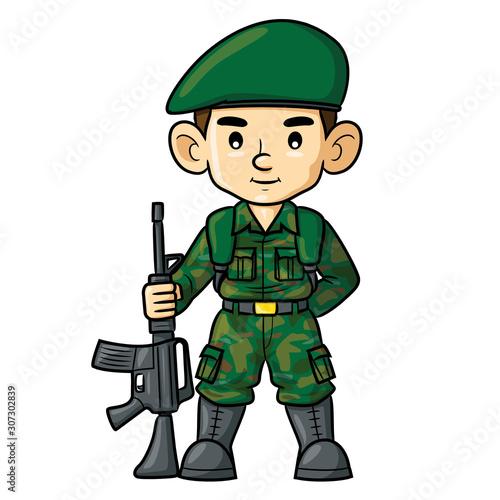 Canvas Print Soldier Cartoon.