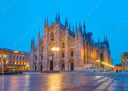 Obraz na plátně Milan Cathedral - (Duomo di Milano (Milan Cathedral) and Piazza del Duomo in Mil