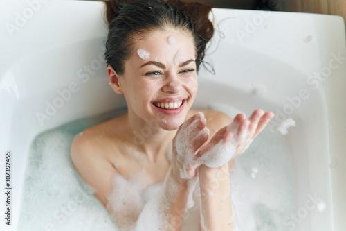 Fotografie, Obraz girl in bath with foam