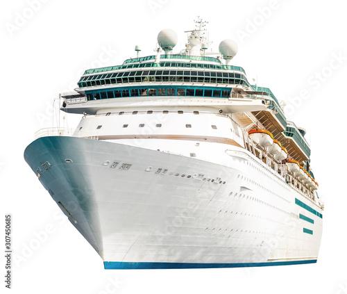 Fotografia Cruise ship isolated on white background, modern ocean liner