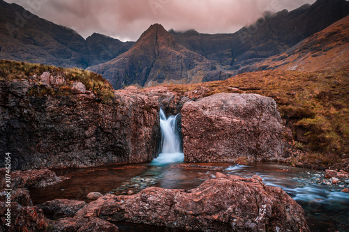 Obraz na płótnie Fairy Pools waterfall in the Isle of Skye, Scotland located next to Glen brittle in the Scottish Highlands