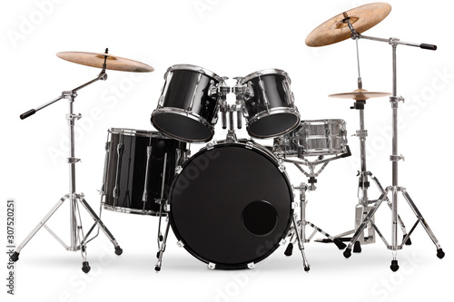 Vászonkép Studio shot of a black and silver drum kit