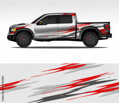 Photo Car wrap decal design vector, for advertising or custom livery WRC style, race rally car vehicle sticker and tinting custom