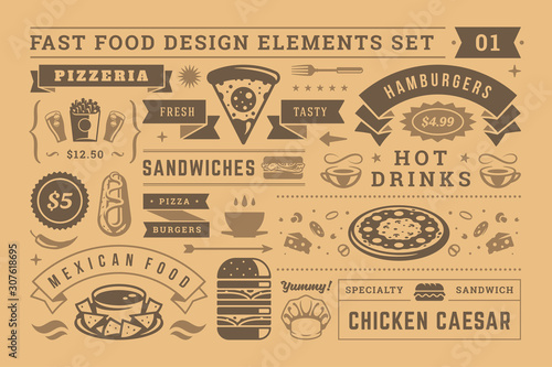 Street and fast food signs and symbols with retro typographic design elements vector set for restaurant menu decoration.
