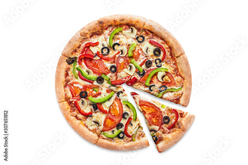 Delicious vegetarian pizza with champignon mushrooms, tomatoes, mozzarella, peppers and black olives, isolated on white background