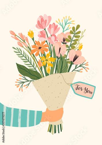 Foto Illustration bouquet of flowers