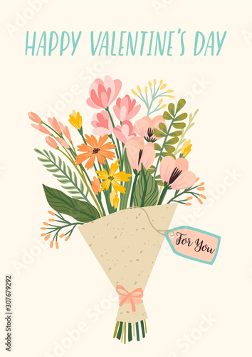Fotografia Illustration bouquet of flowers